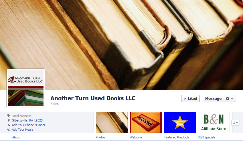 Facebook Front Page for Another Turn Used Books