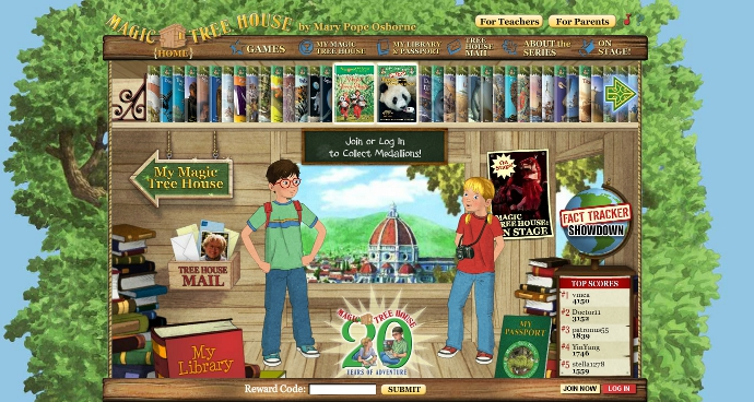 Magic Tree House Website from Random House